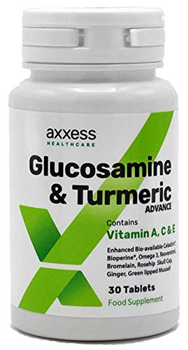 Glucosamine & Turmeric Advance (30 Tablets) | Improved Formula | Contains Vitamins A, C and E