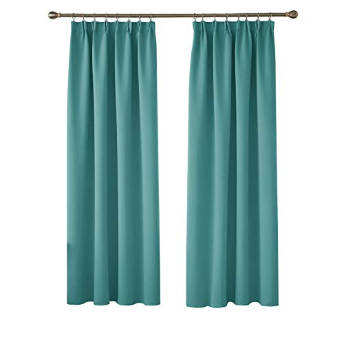 Deconovo Solid Thermal Insulated Curtains Tape Top Blackout Curtains for Bedroom 46 x 72 Turquoise Two Panels
