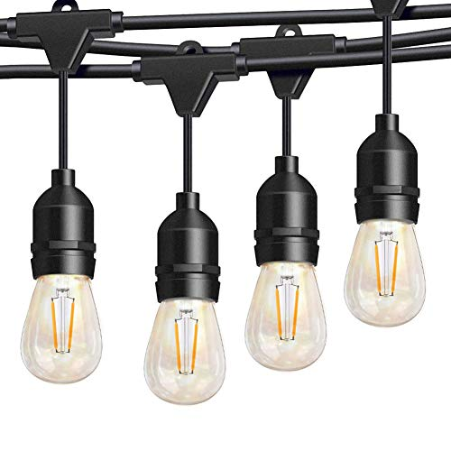 Outdoor String Lights 48Ft Patio Lights with 15 2W LED Dimmable Vintage Edison Bulbs, Edison Lights Outdoor String Created a Soft Warm Ambiance for Your Gazebo Bistro Backyard Deck Parties-S14