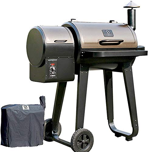 ZGRILLS Pellet Grill and Smoker ,450 Square Inches Grilling Area with Digital Auto Temperature Control 6 in 1 Outdoor Wood Pellet BBQ Grills Include Weather-resistant Cover ,Black