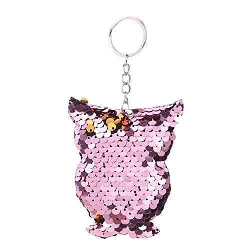 Llavero de metal para mujer con purpurina, diseño de pájaro, ideal para cualquier ocasión, para bolsos, maletas, mochilas, accesorios., Rosa., A