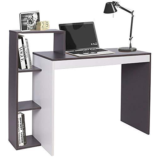 BAKAJI Scrivania con Libreria 4 Ripiani Tavolo da Lavoro Porta Pc Computer Struttura e Piano in Legno MDF Arredamento Casa Ufficio Cameretta Dimensioni 110 x 90 x 40 cm (Grigio)