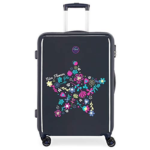 Enso Nice Flowers Blue Medium Suitcase 48 x 68 x 26 cm Rigid ABS Combination Lock 75 Litre 3.7 kg 4 Double Wheels