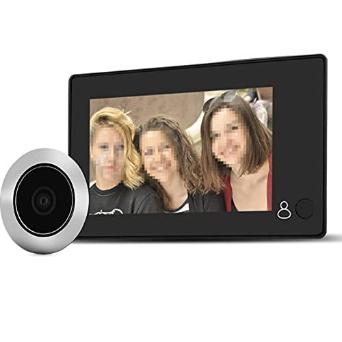 Garsent Timbre de Video Digital de 4.3 , Visor de Mirilla de Puerta Digital Inteligente HD 1MP LCD con Gran Angular de 140 ° Alimentado por batería o Banco de energía para el hogar