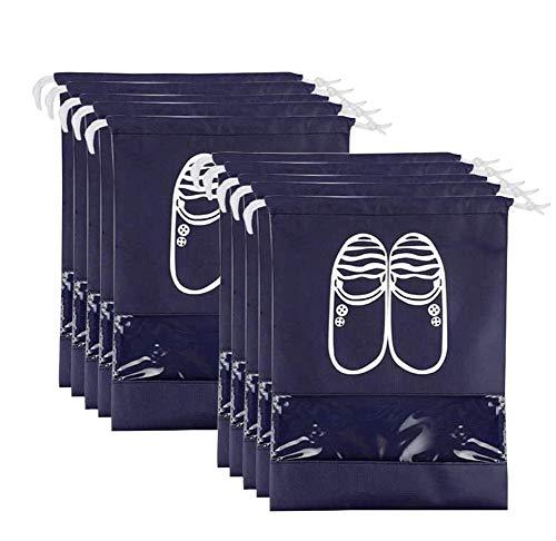 FunYoung Schuhbeutel mit Zugband und Sichtfenster Wasserabweisende Schuhtasche 10er Set (Schwarzblau)