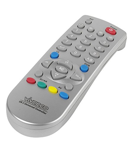 Vivanco Universal 2in1 TV/DVB - Mando a distancia universal para TV, plateado
