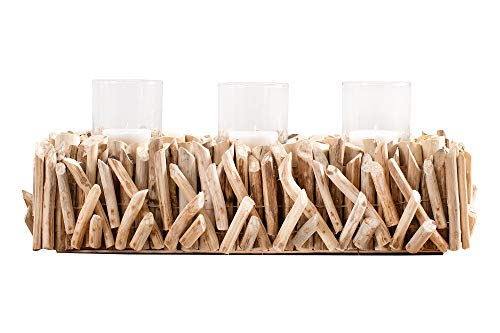 DuNord Design Windlicht Mali Treibholz Massiv DREI Gläser für Teelichter Windlichthalter Kerzenhalter