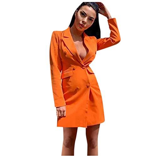 Kaiki Damen Kurz Festlich Zweireiher Mantel Minikleider Slim Fit Langarm V-Ausschnitt Office Blazer Etuikleider Mädchen Freizeitkleid Herbst Lässig Junger (XL, Orange)