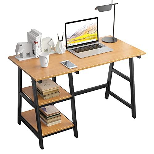 SogesPower Escritorio para ordenador, oficina, estudio, ordenador portátil, con marco de acero y 2 estantes para mucho espacio, 120 x 60 x 75 cm, roble