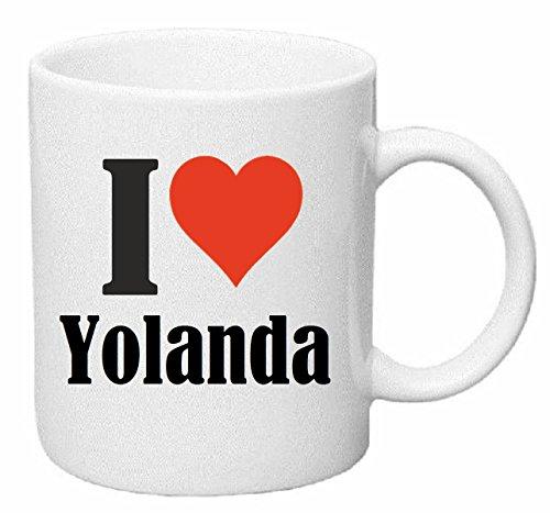 taza para café I Love Yolanda Cerámica Altura 9.5 cm diámetro de 8 cm de Blanco