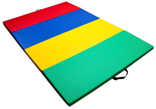 K-Roo Sports Children's and Gymnastics Tumbling Mat, Mixed Rainbow, 4 x 6-Feet