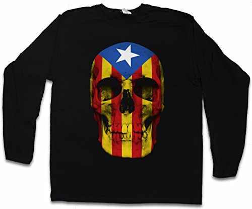 Urban Backwoods Catalonia Skull Flag Long Sleeve T-Shirt De Manga Larga Negro Talla L
