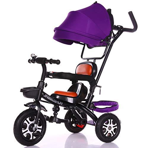 SSLC driewieler voor kinderen, baby driewieler vouwwagen kinderen Trike afneembare luifel duwhandvat leren fiets maximaal gewicht 30
