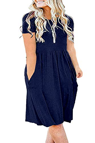 KARALIN Women's Plus Size Pockets Empire Waist Loose Swing Casual Midi Summer Dress with Short Sleeve(24w,Navy Blue)