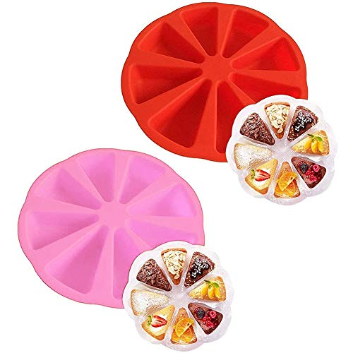 Silicone Pizza Mould - ZSWQ Silicone Bake Ware Large Round 8 Triangle Cavity Cake Pan Mold Cake Molds Soap Mould Pizza Pan 27x27x5 cm (2pcs)
