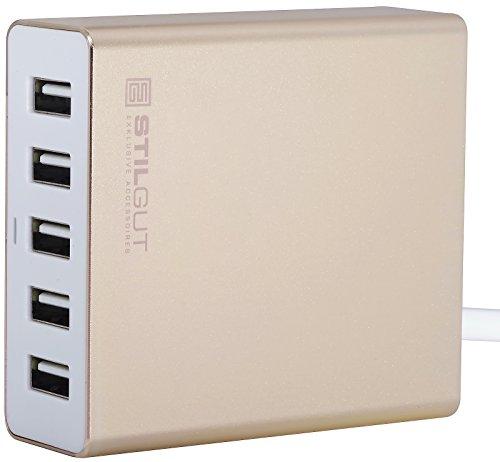 StilGut PowerPort 34W 5 Port USB Charger, USB Power Supply Charger geschikt voor iPhone 11, iPad, Samsung Galaxy, gold