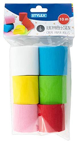Stylex 14022 - Krepppapier Rollen, Kreppband 6 x 10 m in den Farben weiß, gelb, rosa, hellblau, hellgrün und rot, ideal zum Basteln und als Dekoration