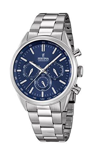 Festina Herren Chronograph Quarz Uhr mit Edelstahl Armband F16820/2
