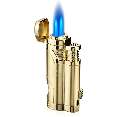 Cigar Torch Lighter with Punch Butane Refillable Lighters 2 Jet Flame Torch Strong Windproof Without Gas (Gold)