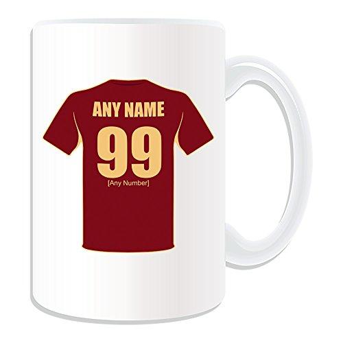 Taza de regalo personalizable, diseño de la selección de fútbol de Rusia, color blanco, cualquier nombre/número en su único, camiseta del equipo de fútbol de la Rusa