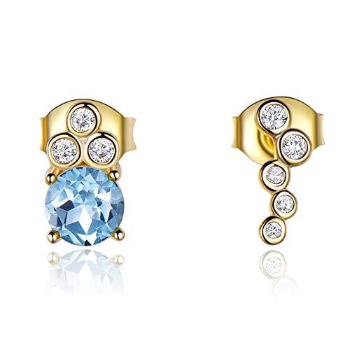 Dreamdge 925 Sterling Silver Earrings for Women Irregular, Gold Blue Pendant Earrings Round Natural Sky Blue Topaz