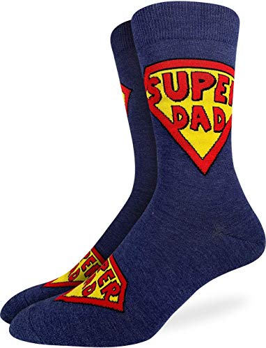 Good Luck Sock Men's Super Dad, Father's Day Socks - Blue, Adult Shoe Size 7-12