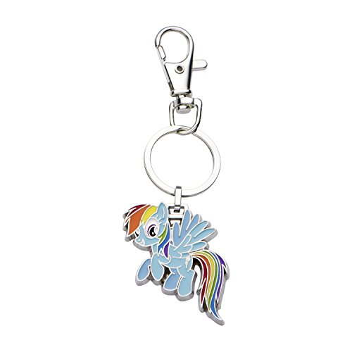 Hasbro Jewelry Girls My Little Pony Base Metal Rainbow Dash with Stainless Steel Key Chain, Silver/Light Blue, One Size