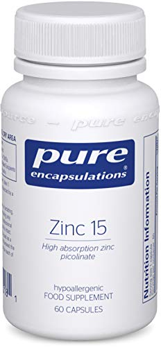 Pure Encapsulations - Zinc 15 - Zinc Picolinate 15mg - Highly Absorbable Hypoallergenic Immune System Supplement - 60 Vegetarian Capsules