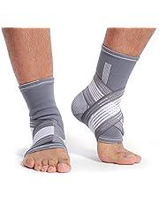 Neotech Care - Ondersteunende enkelbrace (1 paar) - elastische en ademende stof, verstelbare compressieband, voor mannen, vrouwen, jongeren - linker- of rechtervoet - grijs - M