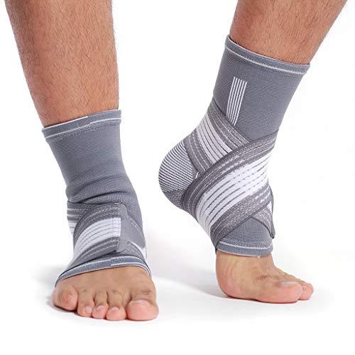 Neotech Care - Fotledsstöd (1 par) - elastiskt och andningsaktivt material - justerbart kompressionsband - för män, kvinnor, ungdom - vänster eller höger fot - grå färg - M