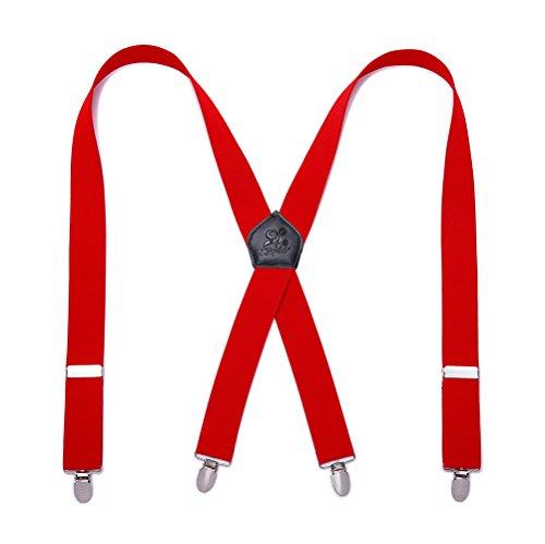KANGDAI Tirantes Hombres Suspenders 4 Clips Brazaletes de Cuero Genuino X Back Durable Wide Elastic Straps Brazaletes para Pantalones (rojo)