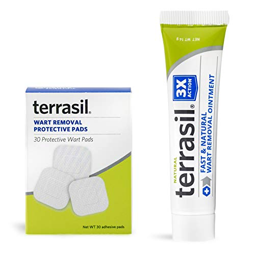 Wart Remover with Pads - Safe for Sensitive Skin Natural Pain Free Salicylic Acid Free Patented Treatment for Plantar Genital Facial Warts by Terrasil (14gm tube with Wart Protective Pads)