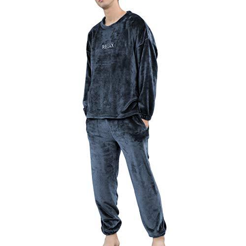 Pijama Unisex Hombre y Mujer a Juego Forro Polar Pijama 2 Piezas Conjuntos de Parejas para Invierno Ropa de Casa Manga Larga y Pantalones Largos (Azul Marino, XL)