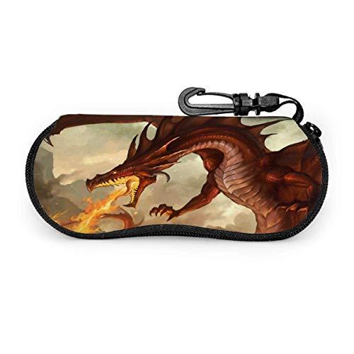 Estuche para anteojos Fire Brseathing Dragon Estuche para gafas vintage Estuche para gafas de sol de viaje portátil resistente a los arañazos Concha