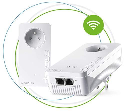 devolo Magic 2 WiFi next : Starter Kit CPL WiFi le plus rapide du monde (2400 Mbits/s, 3 ports Ethernet Gigabit) idéal télétravail et streaming, prises françaises