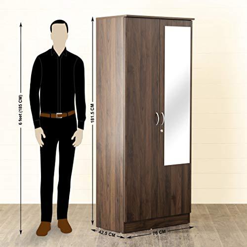 Home Centre Lewis Brown Engineered Wood Two Door Wardrobe with mirror – 76 cm x 42.5 cm x 181.5 cm