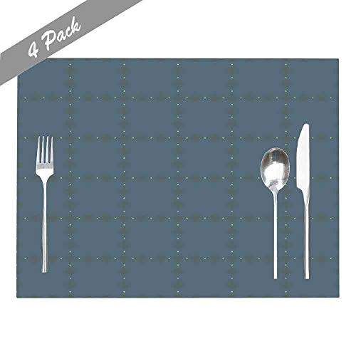 Douecish Farmhouse Placemats,Washable,Heat-Resistant Art Pattern Vintage Check Arrangement Simple Geometric Shapes Heather Grey Modern Placemats for Kitchen,Dining Table,Dining Room,18X12,Set of 4