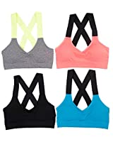 AKAMC Womens Removable Padded Sports Bras Medium Support Workout Yoga Bra 3 Pack AKAWAN-2018ANEW-STYLE