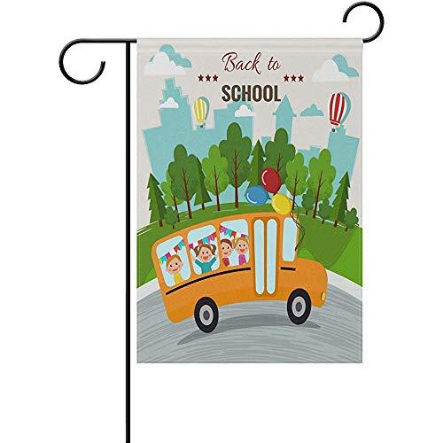 Mesllings Terug naar School Bus Tuin Vlag Banner Decoratieve Dubbele Zijde 12