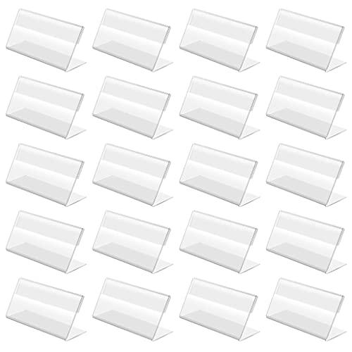 Soporte para tarjetas, 20 soportes acrílicos de 7 x 4 cm, soporte para etiquetas plásticas, duradero, reutilizable, para tiendas de zapatos, ropa