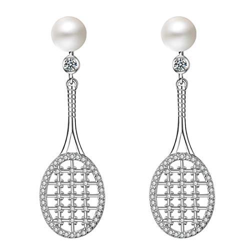 Caimeytie Damen Tennisschläger Ohrringe mit Perlen und Zirkonia 925 Sterling Silber