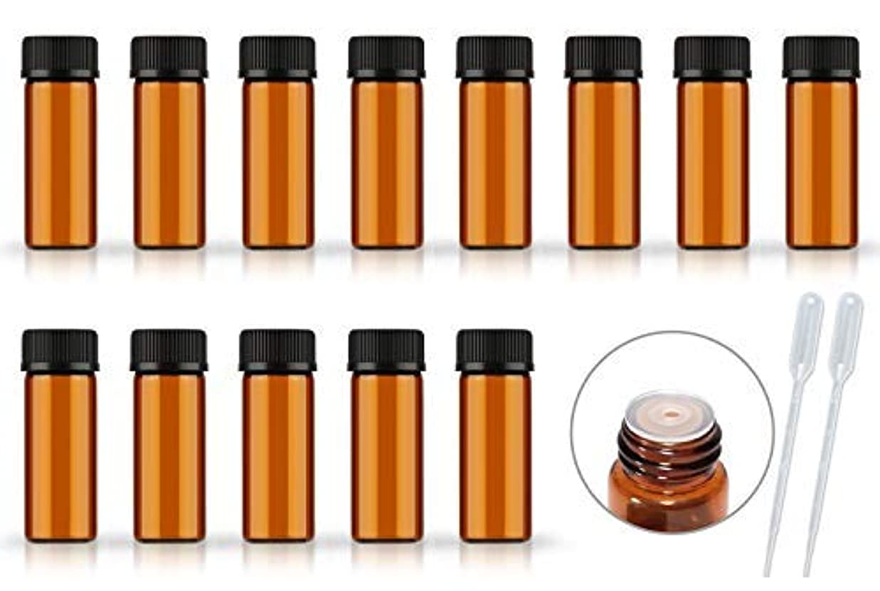 薬用敵意不承認50Pack Set 1ML 2ML 5ML Amber Glass Bottle with Orifice Reducer and Cap Small Essential Oil Vials (5ML) [並行輸入品]
