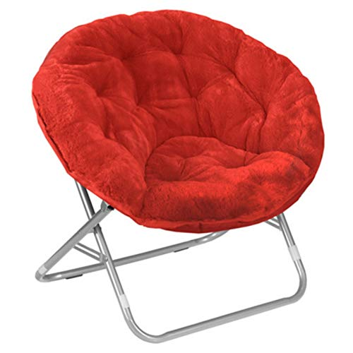 Faux Fur Folding Moon Saucer Chairs for Kids Teens Adults Portable Padded Comfy Gaming Chair Bundle Includes 2 in 1 Stylus Pen from Designer Home (Red)
