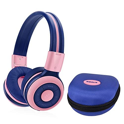 SIMOLIO Casque Bluetooth Enfant Limitation de Volume á 85dB, Ecouteurs sans Fil avec Mic pour Enfants, Casque et Ecouteurs Bluetooth sans Fil, Oreillette Stéréo Bluetooth Pliable pour Enfants (Rose)