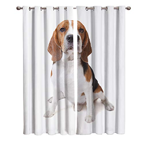 Room Darkening Blackout Curtain 52 inch Length Grommet Top Dog Curtains by, Cute Puppy Doggy Pattern Thermal Insulated Window Drapes Light Blocking Curtains for Bedroom and Sliding Glass Door
