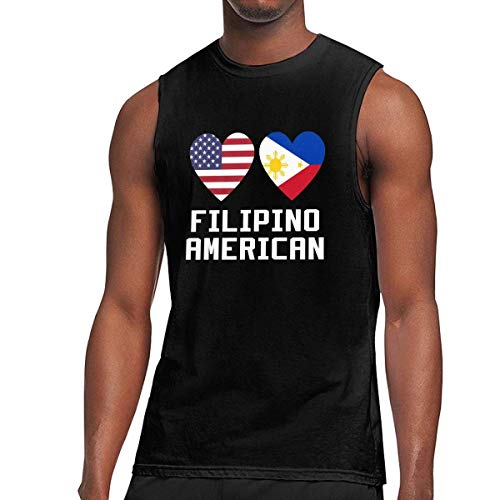 WLQP Camiseta sin Mangas para Hombre Filipino American Hearts Mens Jersey Tank Bodybuilding T-Shirt
