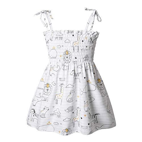 Julhold Prinzessin Kleid Strandkleid Mädchen Kleidung Kleine Tier Druck, Gänseblümchen, Sonnenblumen, Hosenträger Kleid Geschreddert Blume Rock Sommerkleid(Weiß-2,110)
