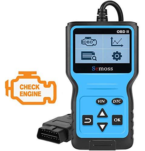 Semoss Portatil OBD2 Escáner Auto Diagnóstico Lector Codigos Error Luz del Motor Lectura y Borrado de Códigos de Fallo para Diesel y Gasolina con Protocolos OBD-II