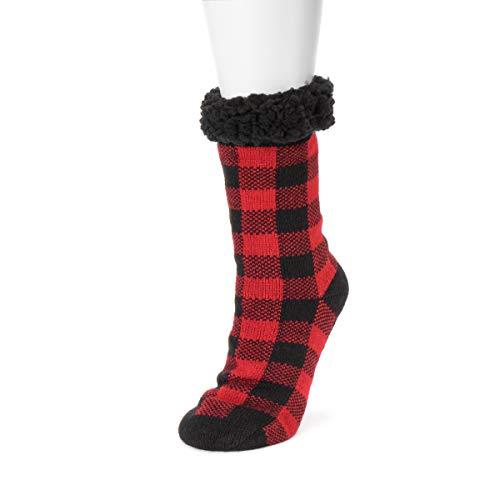 Muk Luks Women's 1-Pair Cabin Socks, Red/black, Small/Medium
