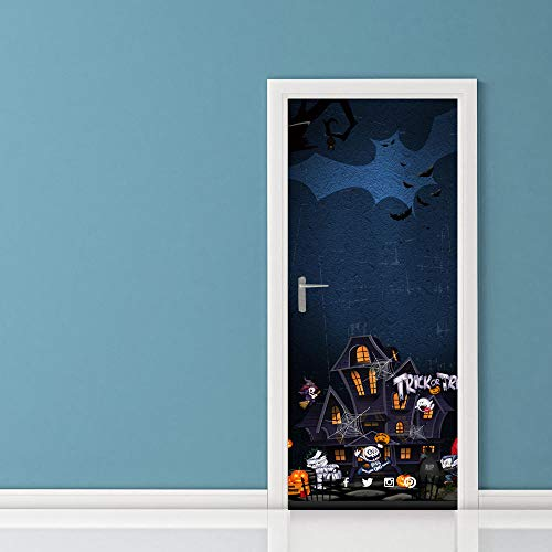 Door Wall Sticker Halloween Ghost Haunted House 3D Door Sticker Wooden Door Home Decoration Wall Sticker